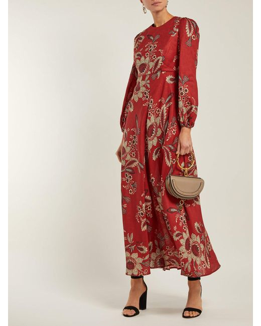 43bbd5c0101 ... Zimmermann - Red Juno Rosa Batik Print Linen Dress - Lyst ...