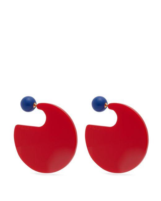 Marni - Red Crystal And Hoop Earrings - Lyst