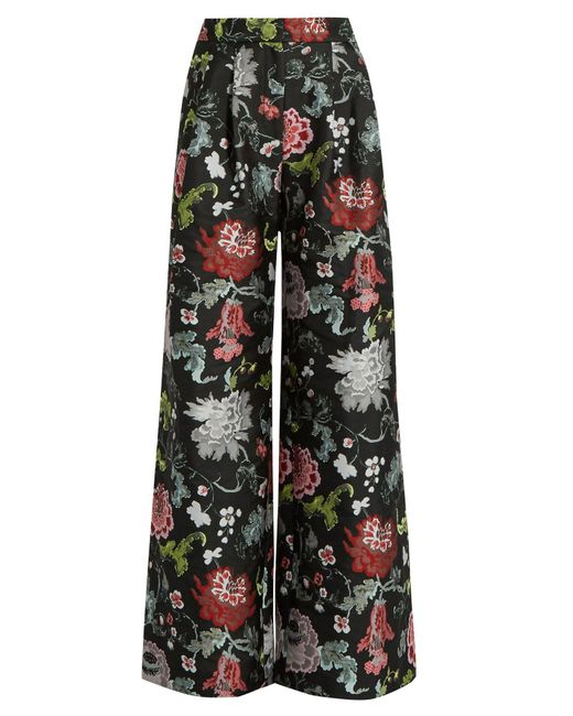 Adam Lippes Black Floral-jacquard Wide-leg Trousers