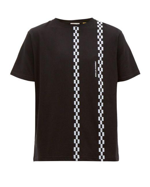 メンズ 7 MONCLER FRAGMENT チェックストライプ コットンtシャツ Black