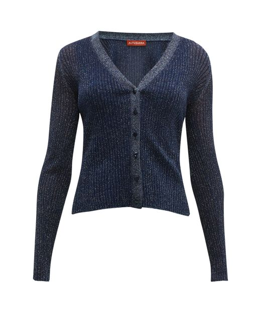Altuzarra Blue Jackson Glitter Rib-knitted Cardigan