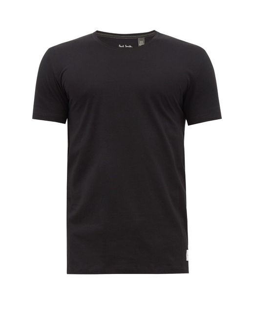 メンズ Paul Smith オーバーロックステッチ コットンtシャツ Black
