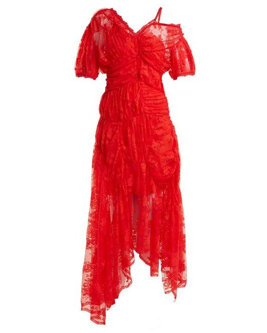 Preen By Thornton Bregazzi - Red Tessie Off-the-shoulder Floral-lace Dress  ...