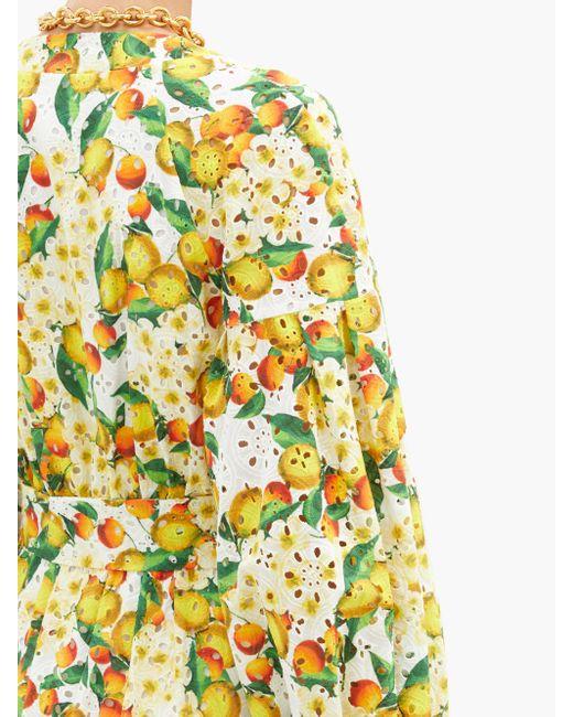 Borgo De Nor ミア コットンアイレットレースドレス Yellow