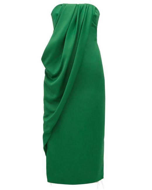 Marina Moscone ストラップレス ドレープクレープドレス Green
