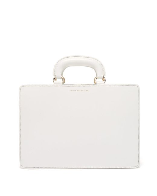 Emilia Wickstead White Briefcase Style Leather Bag