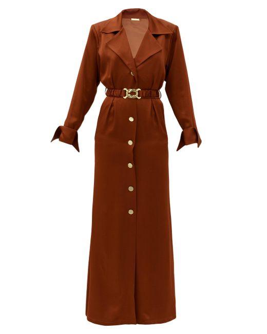 Dodo Bar Or タマラ サテンシャツドレス Brown