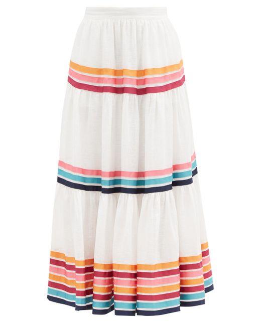 Zimmermann ルル リネンポプリン ティアードスカート Multicolor