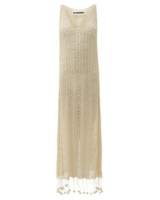 Robe en coton au crochet à ourlet à pompons Jil Sander en coloris White