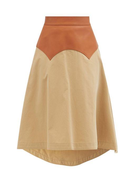 Loewe レザーヨーク コットンギャバジンスカート Multicolor