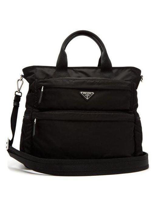 Prada - Black Double-pocket Nylon Tote for Men - Lyst