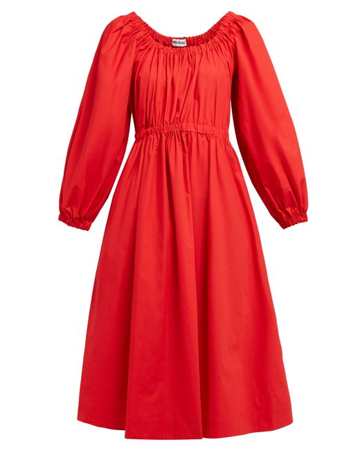 Molly Goddard Red Myriam Cotton-poplin Midi Dress