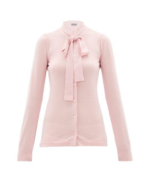 Dolce & Gabbana カシミアシルク ボウタイカーディガン Pink