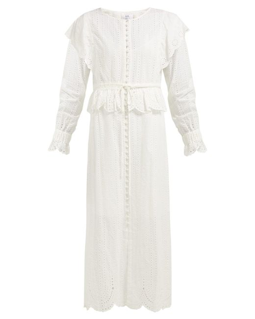 SIR White Leila Broderie Anglaise Cotton Dress