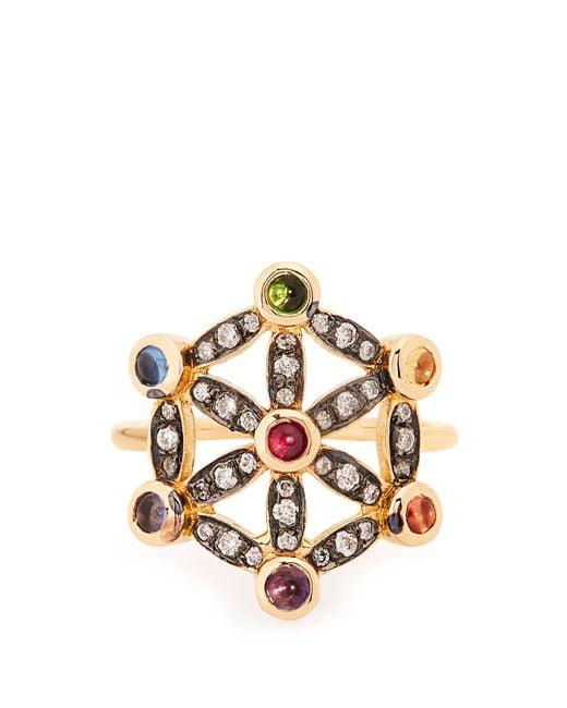 Noor Fares - Metallic Diamond, Multi-stone & Yellow-gold Pinky Ring - Lyst