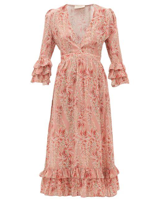 Adriana Degreas アロエプリント ラッフルヘム シルククレープドレス Pink