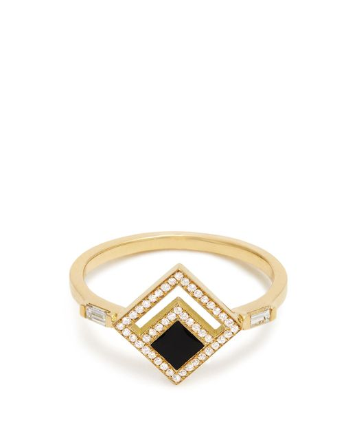 Azlee | Metallic Eclipse Diamond, Enamel & Yellow-gold Ring | Lyst