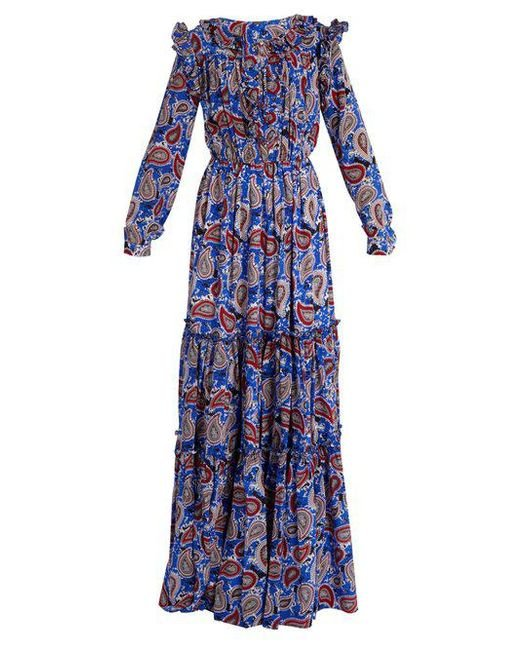 Dodo Bar Or - Blue Elvis Paisley-print Ruffled Maxi Dress - Lyst