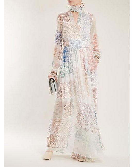 Block-print silk-georgette dress Chlo aQBcp3