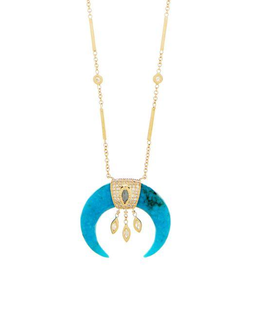 Jacquie Aiche ダイヤモンド&ターコイズホーン 14kゴールドネックレス Multicolor
