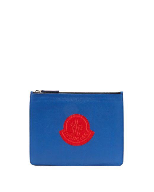 メンズ Moncler ロゴパッチ レザーポーチ Blue