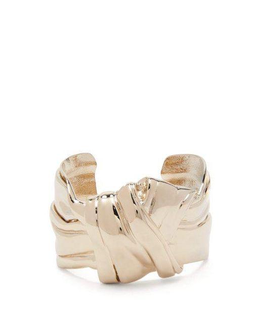 Saint Laurent - Metallic Twisted Knot Brass Cuff - Lyst
