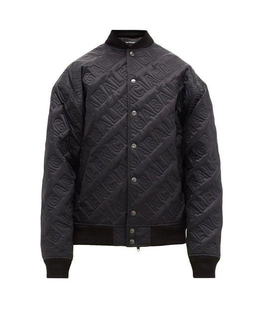 メンズ Balenciaga オールオーバーロゴ ボンバージャケット Black