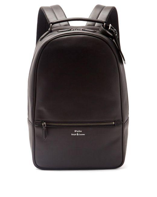 メンズ Polo Ralph Lauren エンボスロゴ レザーバックパック Black