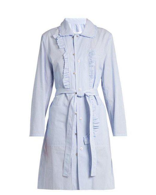 Maison Margiela - Blue Asymmetric-ruffle Striped Cotton-poplin Dress - Lyst