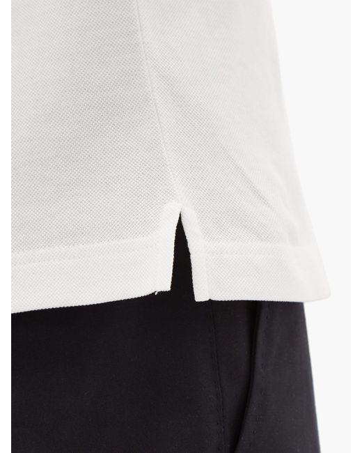 f3145e32 Men's White Conceptual Triangle Logo Cotton Piqué Polo Shirt