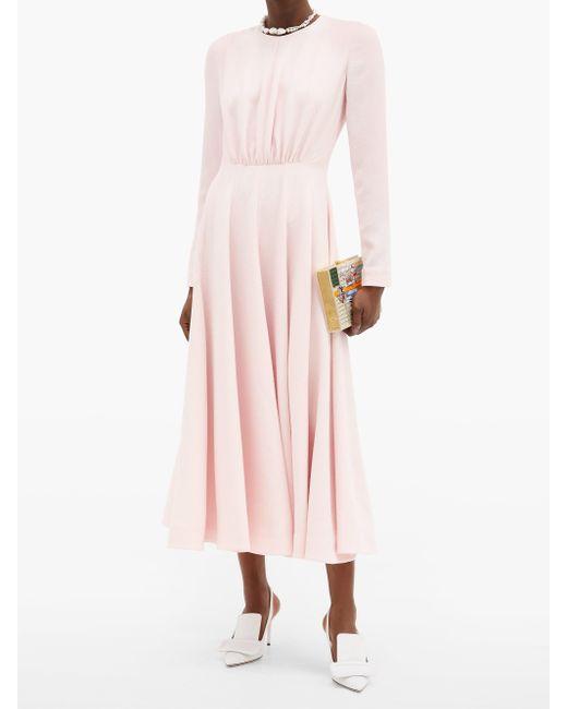 Emilia Wickstead ジョルジェ ギャザー クレープドレス Pink
