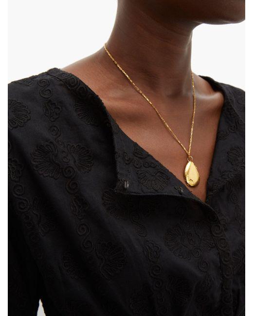 Haut raccourci en coton brodé Jinny Le Sirenuse en coloris Black
