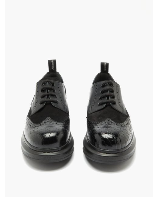 Alexander McQueen Black Tread Glitter, Suede And Leather Derby Shoes for men