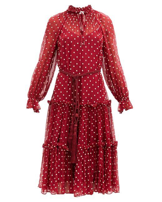 Zimmermann レディビートル ポルカドットクレープドレス Red