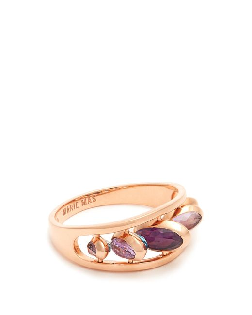 Marie Mas Amethyst, topaz & pink-gold ring