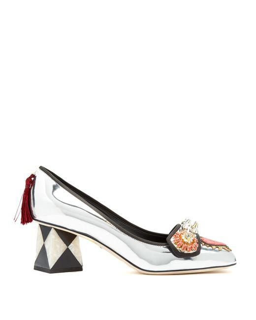 Dolce & Gabbana | Multicolor Crystal-embellished Appliqué Leather Pumps | Lyst