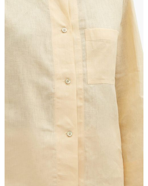 Rossell England リネンポプリンパジャマシャツ Natural