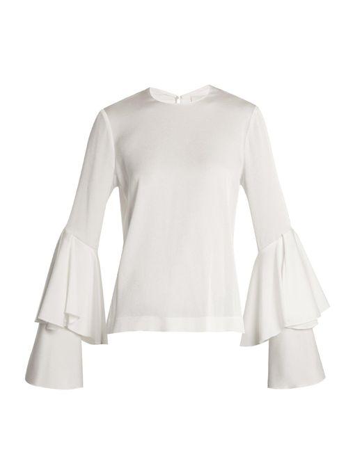Galvan White Bell-sleeve Crepe-back Satin Blouse