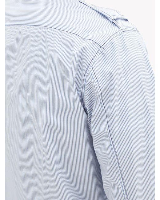 メンズ Helmut Lang ジップアップ ストライプ コットンオーバーシャツ Blue