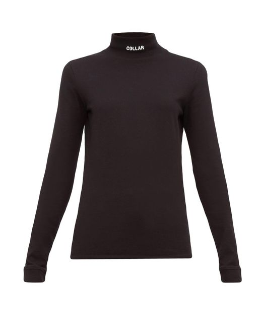 Vetements Black Collar-embroidered Cotton-jersey Top