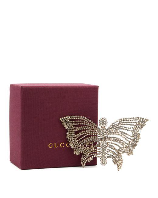 Gucci バタフライ クリスタルブローチ Multicolor