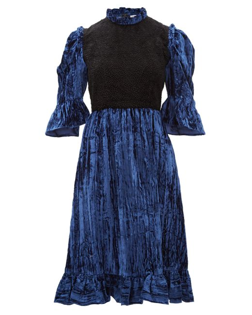 BATSHEVA ツートーン コットンベルベットドレス Blue