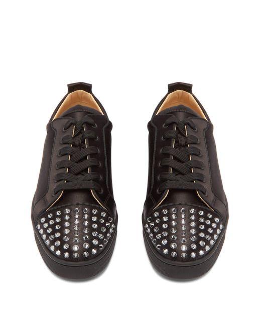 Baskets cloutées en satin Louis Junior Christian Louboutin pour homme en coloris Black