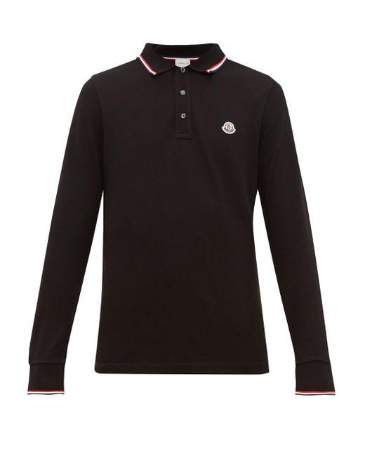 メンズ Moncler ロゴ コットンピケ ロングスリーブポロシャツ Black