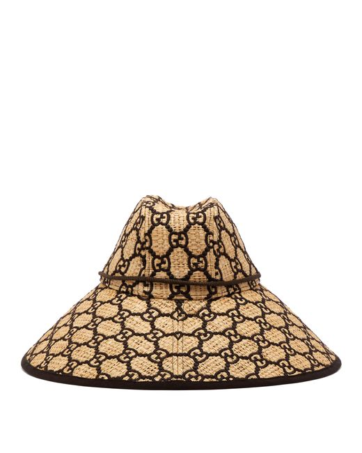 b0c347c2e3 Gucci Hat With Interlocking G Motif in Natural - Save 56% - Lyst