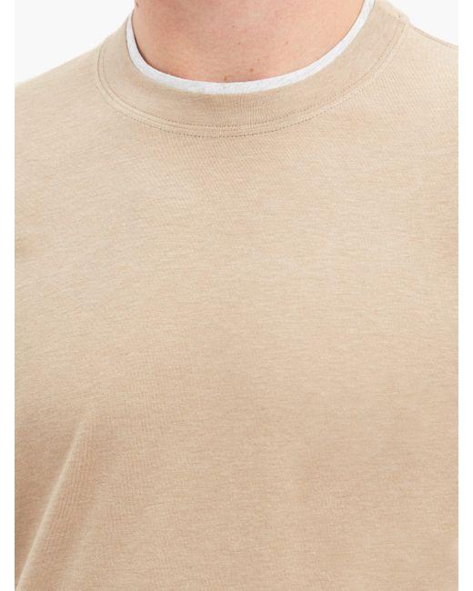 メンズ Brunello Cucinelli レイヤード コットンtシャツ Natural