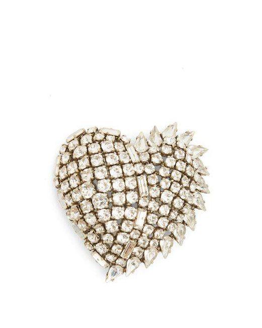 Saint Laurent - Metallic Smoking Heart Crystal-embellished Brooch - Lyst