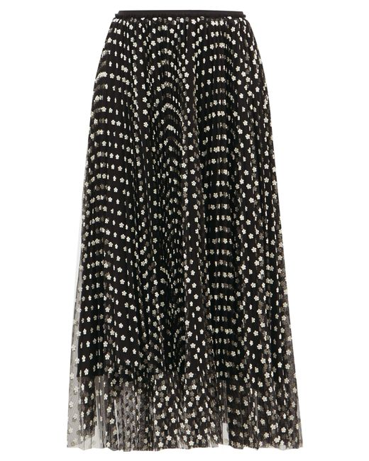 RED Valentino Black Daisy-embroidered Pleated-mesh Skirt