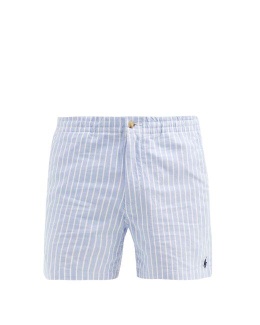 メンズ Polo Ralph Lauren ストライプ コットンオックスフォード ショートパンツ Blue