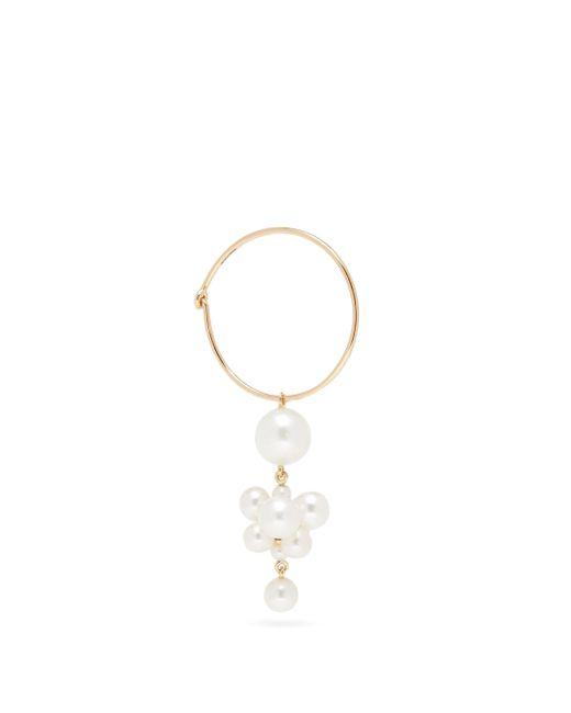 Sophie Bille Brahe Metallic Boticelli Pearl & 14kt Gold Hoop Single Earring
